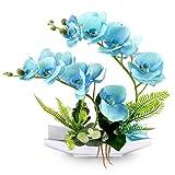 Yobansa Decorativi Real Touch Orchidea Finta Bonsai Fiori Artificiali con Imitazione Vasi da Fiori in Porcellana Phalaenopsis Composizione Floreale per la Decorazione Domestica (Blue)
