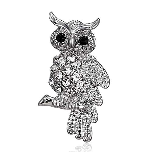 Broches de diamantes de imitación de cristal de búho de pájaro de moda, alfileres de broche antiguos para mujeres, joyería de novia de boda para mujeres