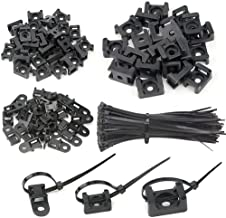 XLX 120PCS 3 Values Saddle-type Cable Tie Mount Bases for Cable Wire Tubing Sleeving Conduit Adjustable Cable Tie Holder Set Matched with 120PCS Black Flexible Zip Ties(Black)