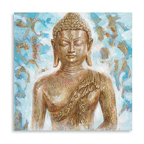 Buddha Canvas Wall Art Decor: Abstract Gold Gilded Blue Budhism Portraits for Living Room Office Inspirational Zen Painting Decor Framed Ready to Hang (24'x24'x1 Panel)
