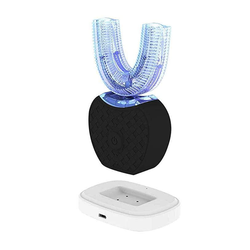 バレーボール高潔なワイプ新しい電動歯ブラシ、V-white超音波歯ブラシは全自動で360°全方位で洗浄して、歯をきれいにして、歯茎をマッサージして、美白します。 (ブラック) [並行輸入品]