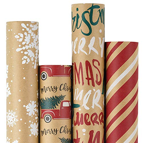 RUSPEPA Christmas Wrapping Paper, Kraft Paper - Snowflakes, Car and Christmas Tree, Stripes and Merry Christmas - 4 Rolls - 30 inches x 10 feet per Roll