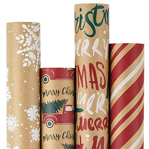 RUSPEPA Papel De Regalo, Papel Kraft - Copos De Nieve, Coche Y Árbol De Navidad, Rayas Y Feliz Navidad - Colección De Elementos Navideños - 4 Rollos - 76cm X 305cm Por Rollo