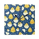 ユキオ(UKIO) 掛け時計 置き時計 壁掛け時計 室内 部屋装飾 壁時計 インテリア おしゃれ 北欧 卵の雛 鳥 ギフト 時計 アート 部屋 ウォールクロック 四角形 方形 かわいい