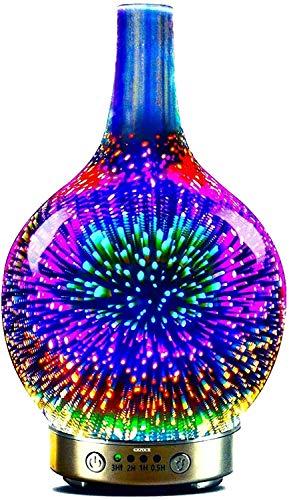 3D Glas Ultraschall ätherisches Öl Diffusor Aromatherapie Diffusor für ätherische öle ultraleise Luftbefeuchter Raumbefeuchter-Automatische Abschaltung bei Wassermangel (3D Feuerwerk)