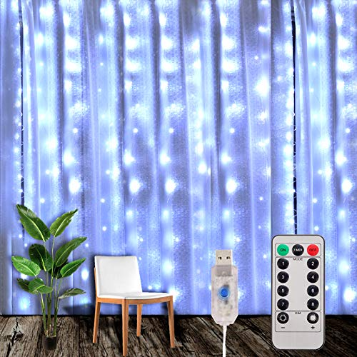 Yizhet Tenda Luminosa 3x3m 300 LED Natale Tenda Luci, Impermeabile IP65 Luci per Tende con Telecomando 8 Modalità Stringa Luce Catena per Esterni, Interni, Camera da Letto, Giardino (Bianco Freddo)