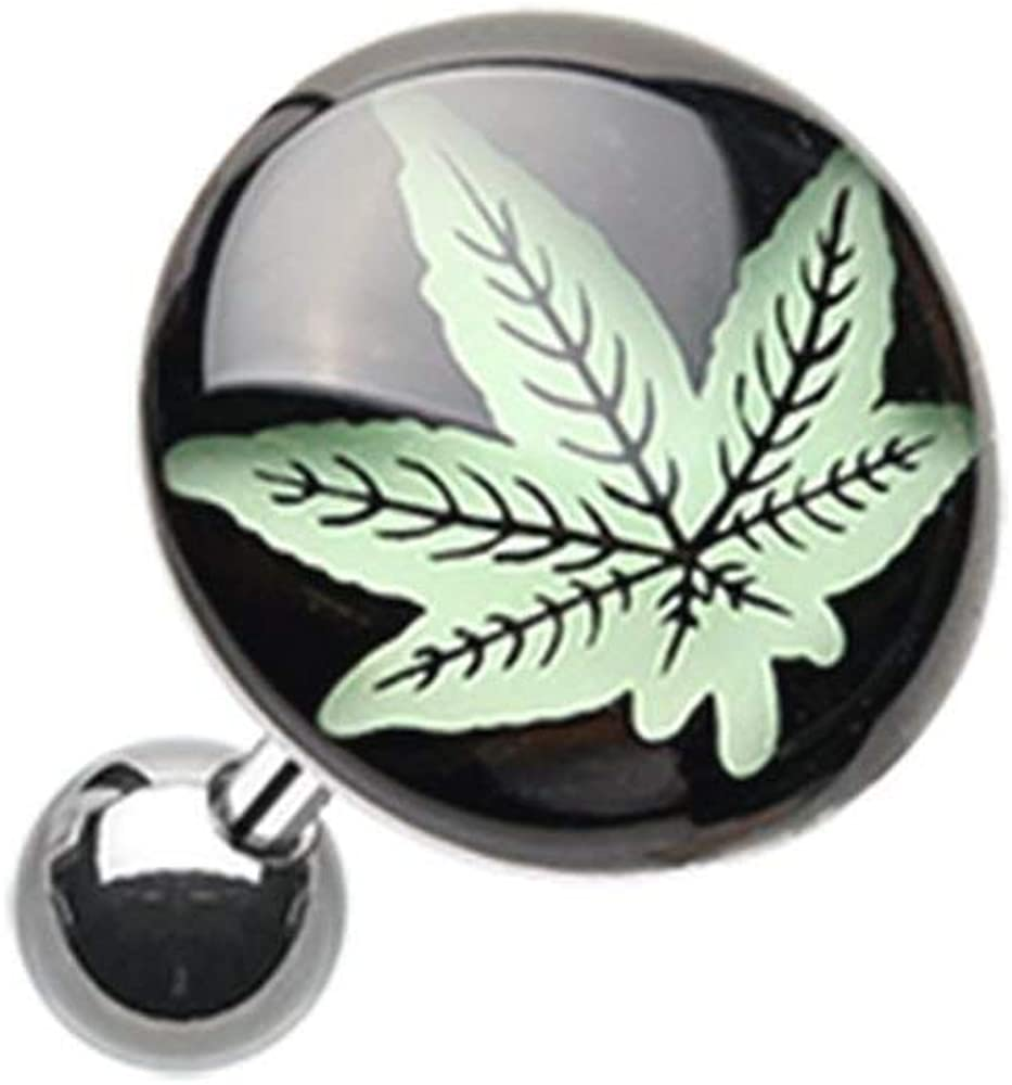 Covet Jewelry Glow in The Dark Cannabis Weed Cartilage Tragus Earring