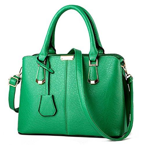 FiveloveTwo Damen Elegant PU Leder Schultertasche Shopper Top-Griff Tragetaschen Umhängetasche Große Handtasche und Geldbörsen Grün