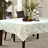 Holiday Snowflakes with Gold Metallic Thread Jacquard Woven Tablecloth (60' x 120' Rectangle)