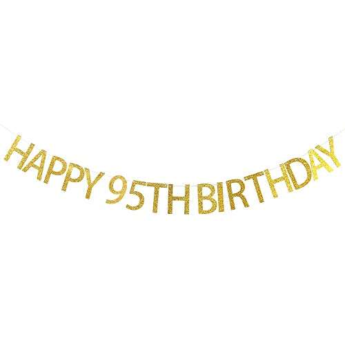 WeBenison Happy 95th Birthday Banner Gold Glitter Party Bunting