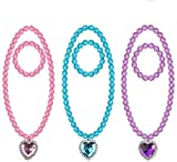 3 Sets Princess Pretend Jewelry Toy Jewelry Included Necklaces and Bracelets Pretend Play Jewelry Set for Girls(Pink、Purple、Blue)