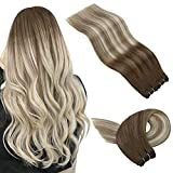 JoYoung Hair Extensions Sew in Human Hair Ombre Dark Brown to Dark Ash Blonde with Blonde Human Hair Sew in Extensions,Weave Human Hair Bundles 100g 18inch