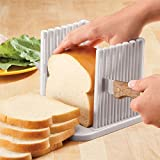 Adjustable Toast Slicer Toast Cutting Guide for Homemade Bread, Plastic Bread Slicer Loaf for Slicing Bread Foldable Kitchen Baking Tools (White)
