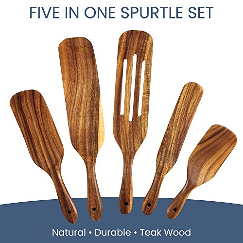 The Humble Brand Wooden Spurtles Set - 5-Piece Collection, Natural Teak Wood - Nonstick Kitchen Utensils - Spatulas for Cooking, Stirring, Mixing, Serving - Hanging Holes for Storage - Cookware Tools.