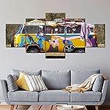 Impresiones 5 Pieza Impresiones sobre Lienzo 100X55CM Furgoneta Hippie Cuadro En Lienzo 5 Piezas Impresión Material Tejido No Tejido Impresión Artística Imagen Gráfica Decoracion