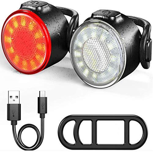 BICMTE Fahrrad Rücklicht, wasserdichte Fahrradrücklicht LED USB Aufladbar, Licht Fahrradlampe mit 6 Licht-Modi für Radfahren, Camping, Wanderung(2 Stück)
