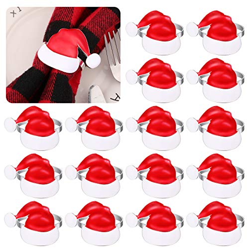 12 Pieces Christmas Hat Napkin Rings Xmas Hat Napkin Ring Holders Red Santa Hat Napkins Christmas Table Decoration for Christmas Dinner Parties Weddings Family Gatherings