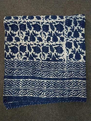 Colcha de Kantha con estampado bohemio, colcha Kantha para decoración de dormitorio, colcha Kantha, tamaño queen, colcha Kantha de algodón, colcha Kantha, colcha Kantha, funda de cama.