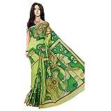 Sari Tradicional Verde Kerala Tussor de Seda Pintado a Mano