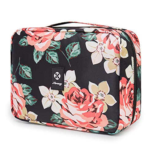 Hanging Travel Toiletry Bag Cosmetic Make up Organizer for Women and Girls Waterproof (Black Peony)
