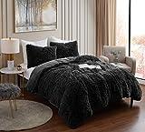 Plush Shaggy Comforter Set Ultra Soft Luxurious Faux Fur Decorative Fluffy Crystal Velvet Bedding with 2 Shams, Queen, Black