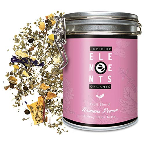 'Women's Power' Organic Loose Herbal Tea with Spicy Chai Taste – Without Caffeine and Ideal for Latte - 100 Grams in Tin (35 Cups) by alveus Premium Teas