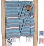 ZusenZomer Fouta Gigante 150x210 Toalla de Hammam XXL Ibiza - Toalla Turco Extra Grande para Vacaciones Playa Picnic - 100% Algodón - Foutas Playa Comercio Justo (Turquesa, Gris)
