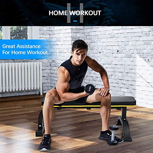 Flat Weight Bench, Doufit WB-02 Heavy Duty Exercise Bench for Home Gym, Dumbbell Workout Bench for Weight Training