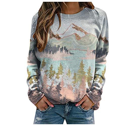 Xmiral Damen Langarm Rundhals Sweatshirts Netter Cartoon Gedruckt Pullover für Herbst Winter(e-Rosa,XXL)