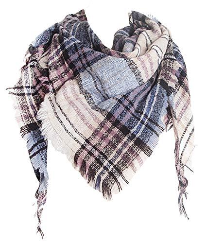 Wander Agio Womens Warm Scarf Triangle Shawls Scarves Stripe Plaid Fichu Rough Beige 5