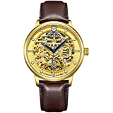 Tophill TW069G Men's Brown Leather Strap Gold dial Automatic Mechanical Outdoor Sports Gold Watch with Military Waterproof Luminous
