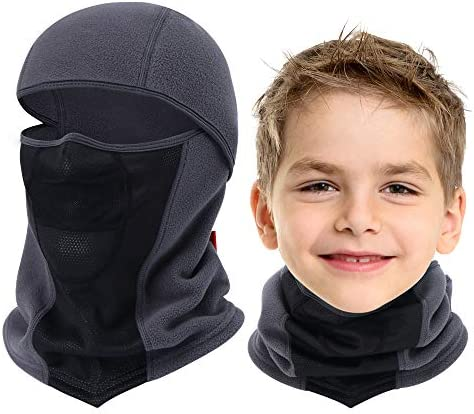 Breathable Kids Balaclava Ski Mask Waterproof Face Mask for Boys Girls Youth Black Grey product image