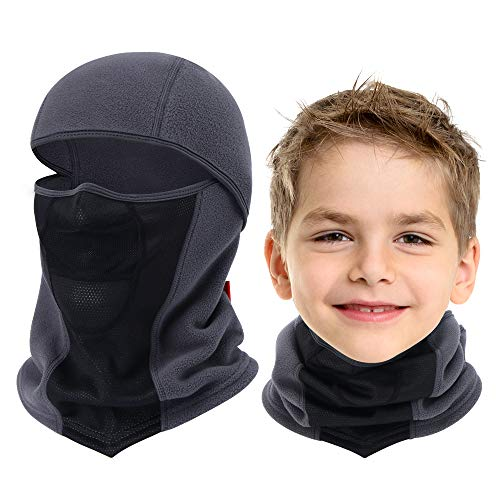 Breathable Kids Balaclava Ski Mask, Waterproof Face Mask for Boys Girls Youth Black-Grey