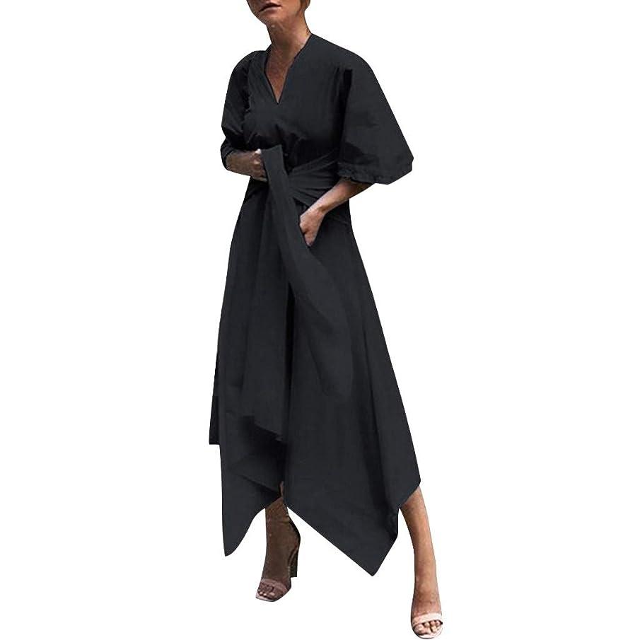 Kawaiine Fashion Women V Neck Short Sleeve Evening Party Dress Asymmetrical Cross Belt Party Long Dress