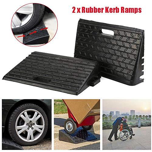 2 x rolstoel, oprijplaat, rubber, oprijplaat, voor in de auto, stoep, stoep, stoeprand, rubberboord, oprijplaat, wigramp, drempelopvang voor goederenbaan terrein, zwart, 48,5 x 30 x 9,5 cm