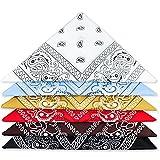 LISOPO Bandanas Foulards Accessoire 6 pcs Bandanas Fichu Mouchoir Unisexe,Bandeau de Cheveux,Echarpe de Cou, Foulards en Coton Rétro Style Multicolore Multifonction pour Femme Homme