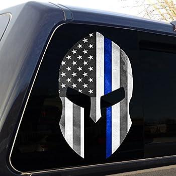 7 Distressed Thin Blue Line Subdued Spartan Helmet American Flag Sticker Self Adhesive Vinyl Decal FA Graphix Law fagraphix 3699C1FA7674