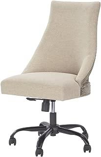 Ashley Furniture Signature Design - Adjustable Swivel Office Chair - Manual Tilt - Casual - Linen - Nailhead Trim
