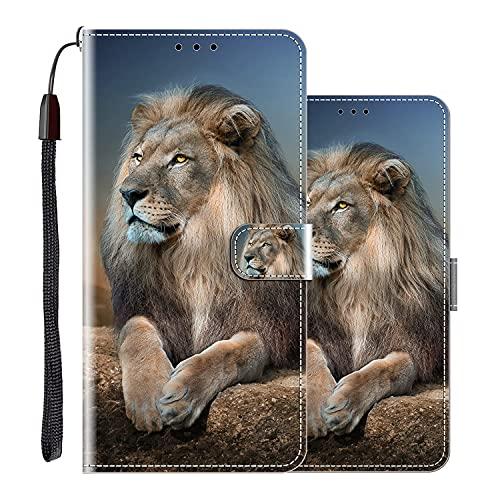 vingarshern Hülle für XiaomiMi10TPro Handytasche Klappbares Magnetverschluss Lederhülle Flip Etui Standfunktion Hülle XiaomiMi10TPro Schutzhülle Leder Brieftasche(Löwe) MEHRWEG