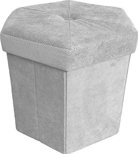 DEMONA Pouf CUBO Velluto IMPOTTITO Esagonale 43x43x40 Puff Box Trapuntato Vari Colori SPEDIZIONE Gratuita (Perla)