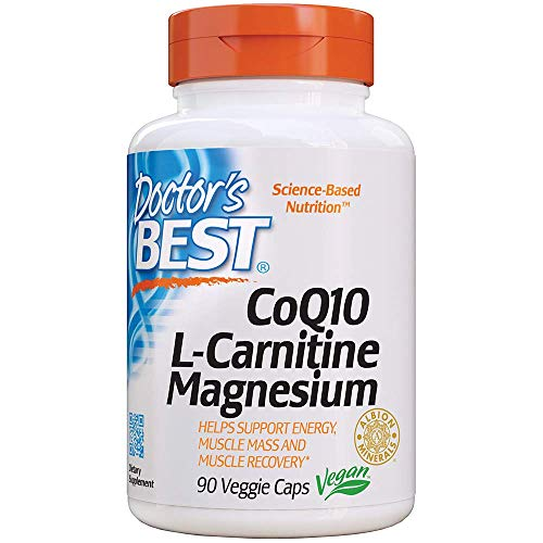 Doctor's Best Coq10/l-Carnitine/Magnesium Unique Blend, Supports Energy, Muscle Mass & Muscle Recovery, Veggie Caps, 90Count