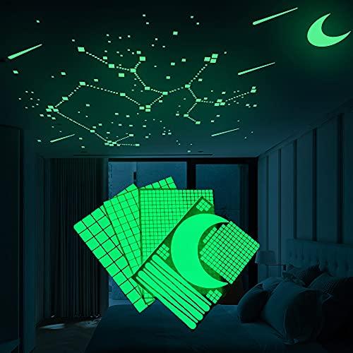 909 spots lumineux,Autocollants Lumineux lumineuses et autocollant de lune pour la chambre des enfants phosphorescentes Plafond Lune pour Chambre à Coucher