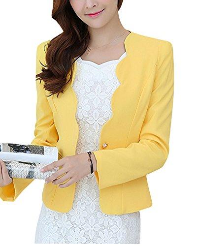 ZhuiKun Damen Blazer Slim Fit Kurzblazer Anzug Gelb M