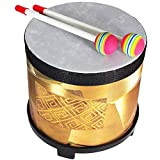 Floor Drum for Children - 8 inch Tom Drum for Kids - Plastic Head - 2 Mallets – Golden