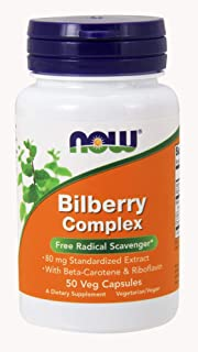 NOW Bilberry Complex, 80 mg, 50 Veg Capsules