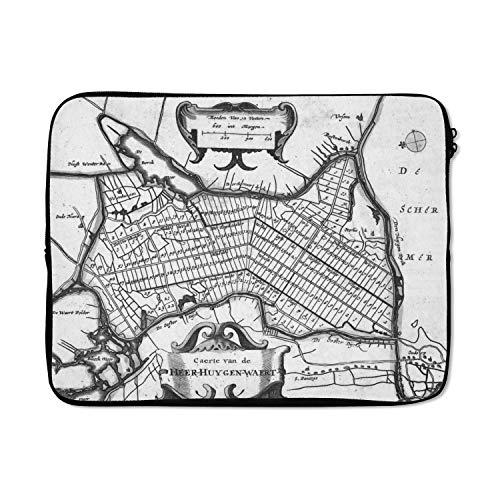 Laptophoes 15 inch 38x29 cm - Historische stadskaarten - Macbook & Laptop sleeve Historische zwart witte stadskaart van Heerhugowaard - Laptop hoes met foto