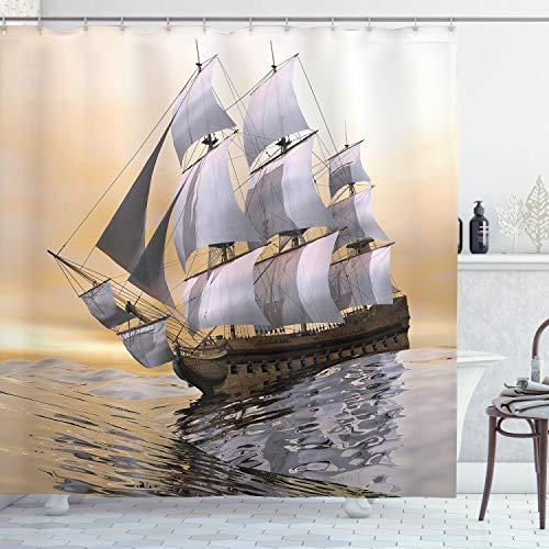 ABAKUHAUS maritim Duschvorhang, Schiff Segeln auf Ozean, mit 12 Ringe Set Wasserdicht Stielvoll Modern Farbfest & Schimmel Resistent, 175x180 cm, Mehrfarbig
