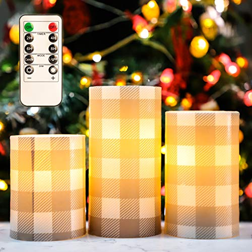 Christmas Flameless LED Candles Flicker, D3' x H4' 5' 6', Silverstro Buffalo Check Gray Flameless Candles with 10-Key Remote, Real Wax Pillar Battery Powered Candles for Christmas Home Decoration