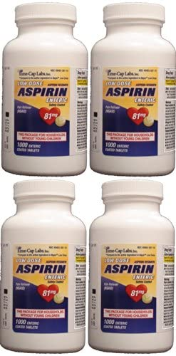 Time Cap Labs Aspirin Adult Low Dose Enteric Coated Generic for Bayer, 81 mg, 1000 Tablets per Bottle