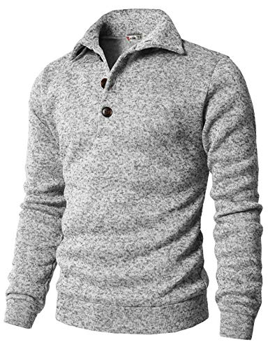 Cute Slim Fit Turtleneck Knit Sweater with Buttons Neck